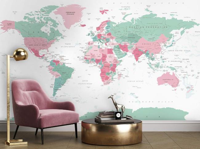 Wallpaper Pink Mural Map Wallpaper Green Mural