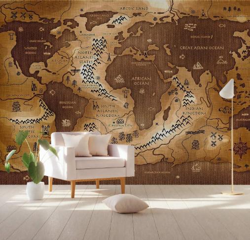 Vintage World Map Wallpaper Nursery Wall Mural