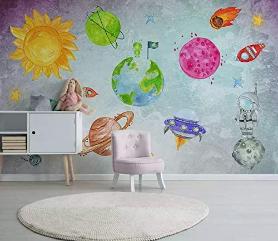 Murwall Nursery Wallpapers For Children Planet Wall Mural