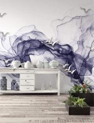 Smoke Wallpaper Mural White Bird Print Minimalist Decor Home Decor