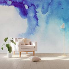 Smoke Wallpaper Wall Mural Blue Fog Nordic Decor Living Room