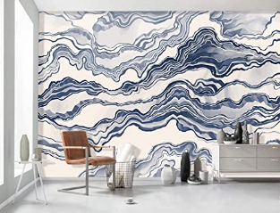 Wallpaper Nordic Abstract Waves Wall Mural Blue Stripe Wall Print