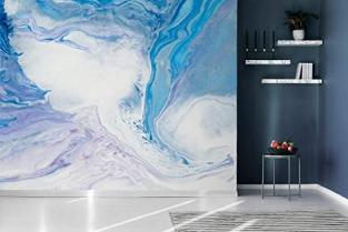 White Turquoise Splashwall Mural Abstract Art Print