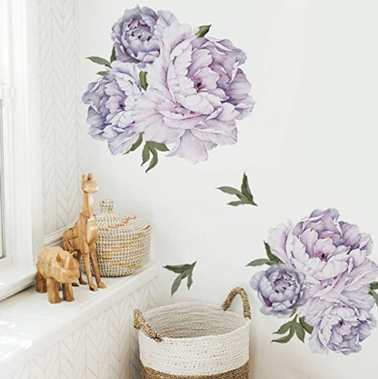 Peony Floral Wall Decals Watercolor Purple Flowers Wall Stickers