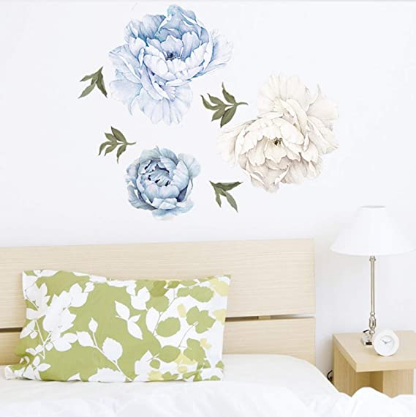 Peony Wall decals, Watercolor flower wall sticker, Floral Wall Decals Wall Art Murals