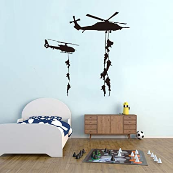 Helicopter Soldier Wall Stickers Vinyl Art Decals Teens Men Military Fans