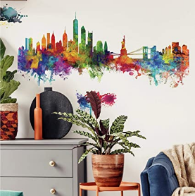 New York City Watercolor Skyline Giant Wall Decals