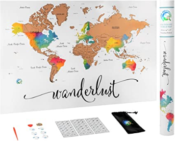 Scratch Off Map of The World | Deluxe Watercolor Wanderlust