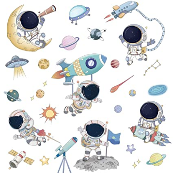 Cartoon Outer Space Planet Wall Stickers