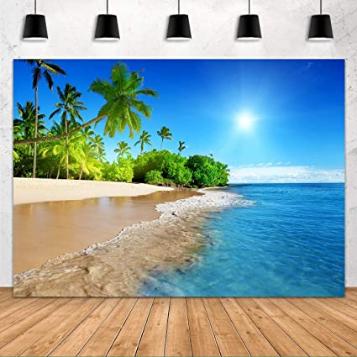 Blue Sea Sky Palm Trees Luau Themed Wall Sticker