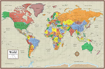 Contemporary Elite Wall Map Poster Mural