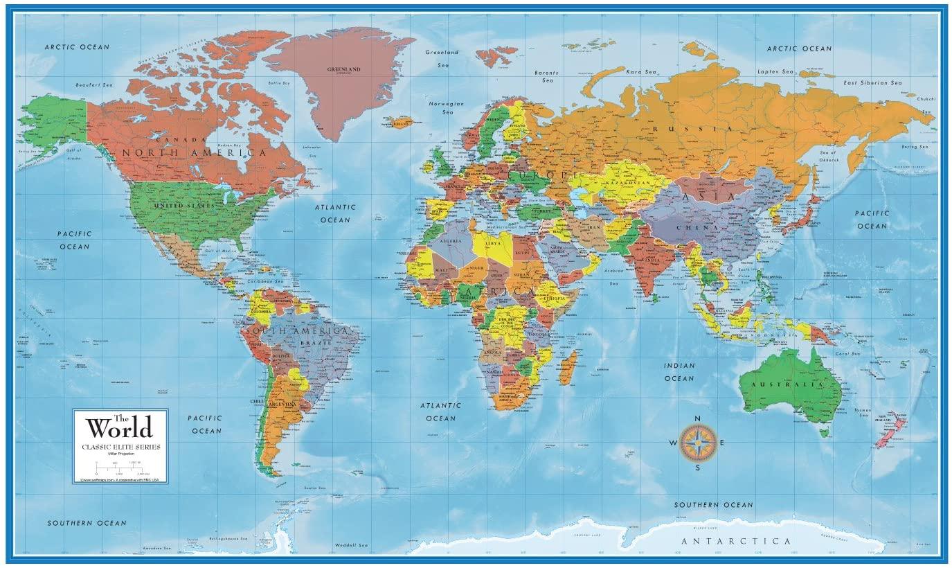 Swiftmaps World Premier Wall Map Poster Mural