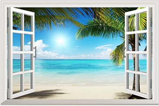 Sand Beach with Palm Tree Open Window Wall Mural