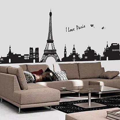 Wallpark Black Paris City Eiffel Tower Buildings Wall Sticker