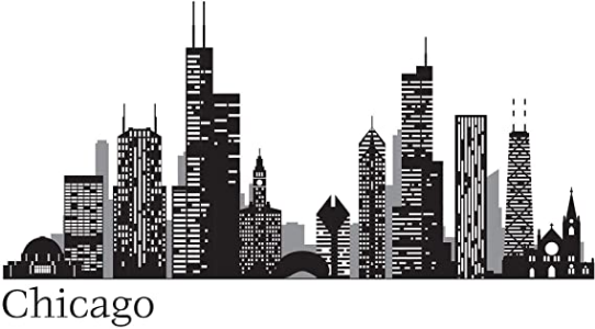 Chicago Cityscape Wall Decal in Black