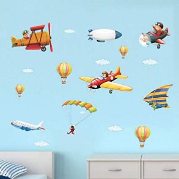 Watercolor cartoon Airplane wall stickers, Boy Pilot Clouds hot air balloons wall stickers
