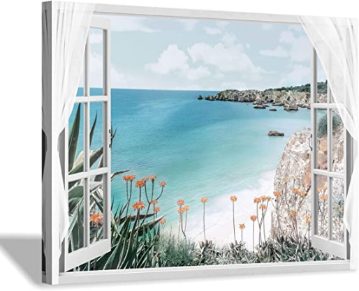 Open Window into Blue Ocean with Beach Wall Art