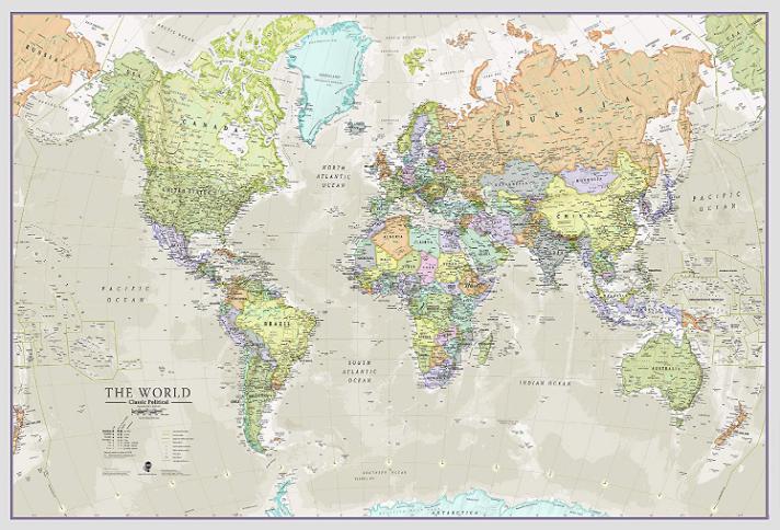 World Map Classic Style - Front Sheet Lamination