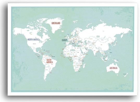 Full Map of Countries of the World Art