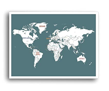 Unframed Turquoise color World Map Wall Decor